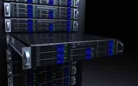 server racks blue glow